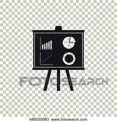 Presentation Financial Business Board With Graph Chart Diagram Pie Graph Icon Isolated On Transparent Background Infographic Board Sign Flat