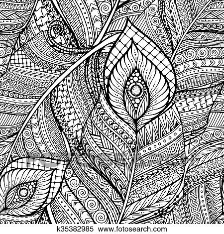 Clipart of Seamless ethnic doodle black and white background pattern Awesome Pattern Doodle