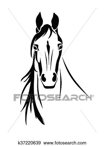 Silhouette Von A Pferdekopf Clip Art K37220639 Fotosearch