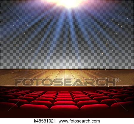 Clipart Of Theater Wooden Stage With A Spotlight On Transparent