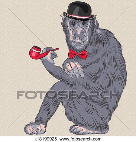 Vettore divertente cartone animato hipster scimmia clipart