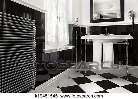 Stock Bild Badezimmer Schwarz Weiss Farbe K19451545 Suche