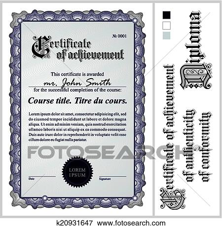Clip Art Of Black And White Certificate Template Vertical