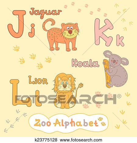 Coloridos Criancas Alfabeto Com Animais Onca Pintada Koala