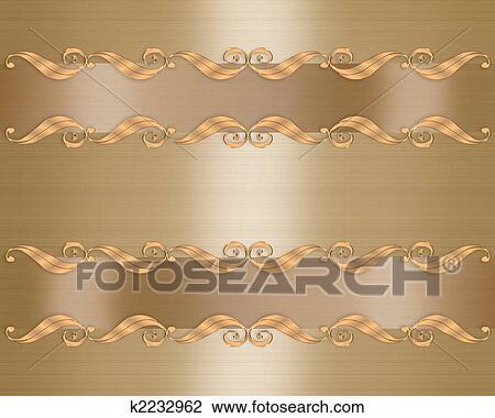 Clip Art Elegante Gold Hochzeitskarten K2232962 Suche Clipart