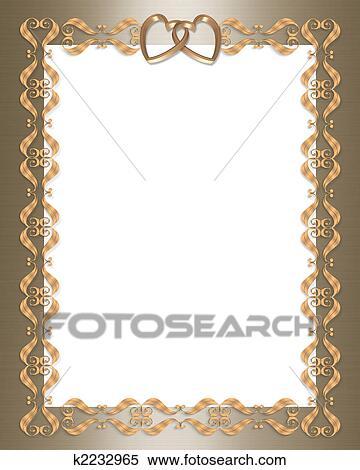Stock Illustration Hochzeitskarten Gold Umrandungen Herzen