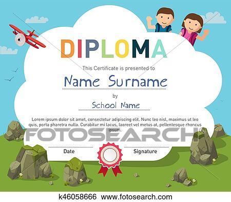 clip art of kids diploma certificate background design template