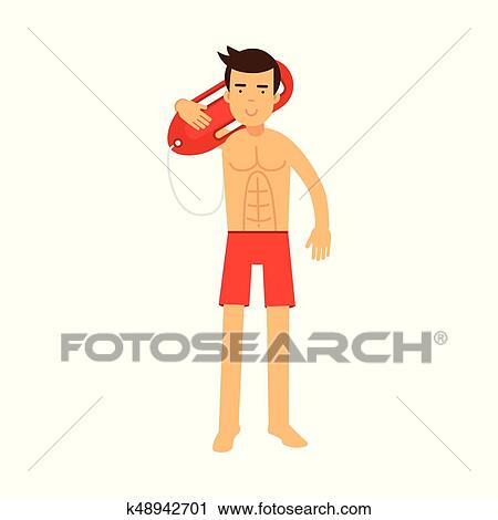 b93e353e4ade Clipart - Lifeguard man character on duty standing and holding life  preserver buoy on his shoulder