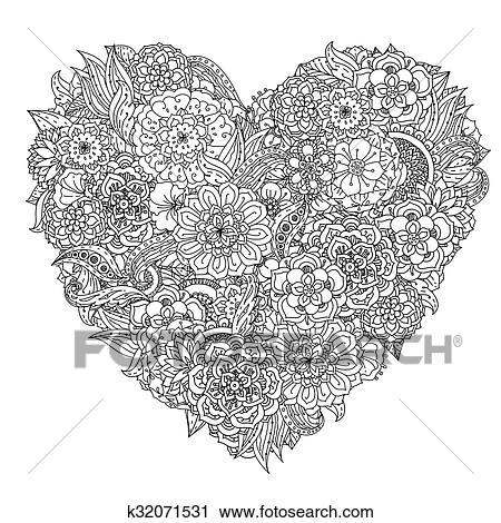 Main Dessin Zentangle Element Noir White Fleur Mandala