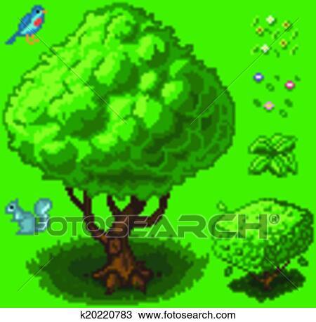 Vecteur Pixel Art Forêt Icône Ensemble Clipart