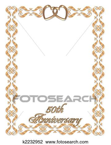 Clip art of wedding invitation border gold 50th k2232952 search 3d scroll accents illustration for elegant formal 50th wedding anniversary invitation frame valentine or background with gold hearts copy space stopboris Images