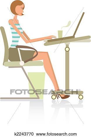 働く女性 クリップアート切り張りイラスト絵画集 K2243770