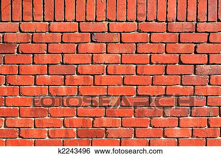Background Texture Red Brick Wall With Perpendicular Top Row