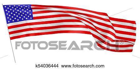 Bandera Nacional De Los Estados Unidos De América En Flagpole Dibujos