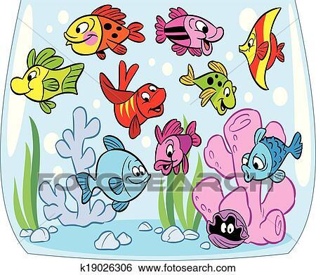 Cartoon Fishes In Aquarium Clip Art