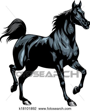Cheval noir clipart k18101892 fotosearch - Clipart cheval ...