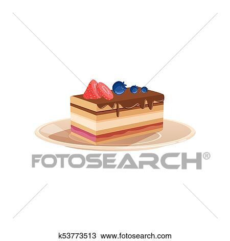Delicieux Pose Couches Dessert Drizzled A Chocolat Decore A Fraise Et Blueberry Doux Cuit Nourriture Plat Vecteur Conception Pour