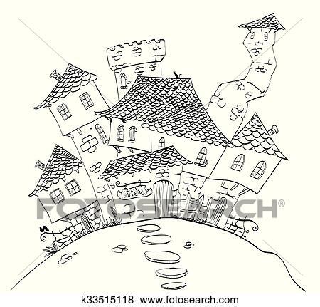Fantasme village dessin ligne clipart k33515118 - Village dessin ...