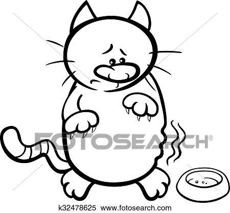 Hungrige Katze Ausmalbilder Clipart