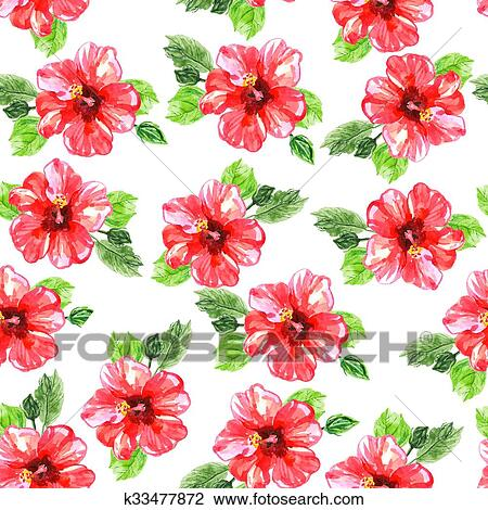 Seamless pattern with red watercolor Hibiscus flowers. Drawing