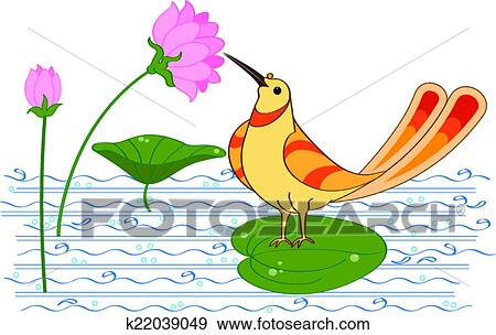 Bird Drinking Nectar Sugar Water From Lotus Flower Clip Art
