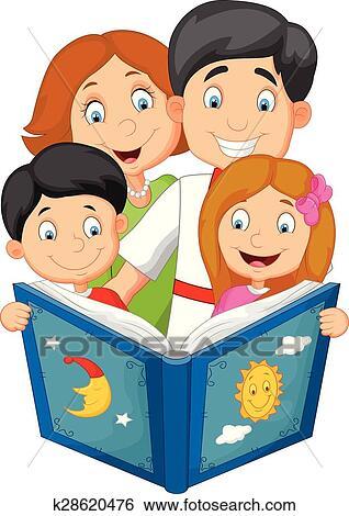 caricatura, familia, leer, un, cuento para dormir clip art