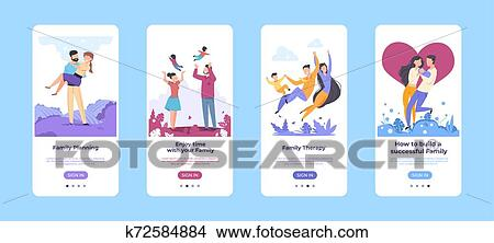 Family Onboard Screen Happy Cartoon Characters Spending Time Together Mobile Application Template Vector Healthcare Website Clipart K72584884 Fotosearch