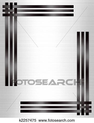 stock illustration of formal invitation template black white