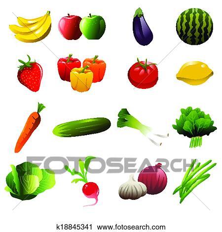 Clipart frutta e verdura icone k18845341 cerca for Clipart frutta