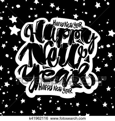 clip art happy new year hand lettering banner fotosearch search clipart