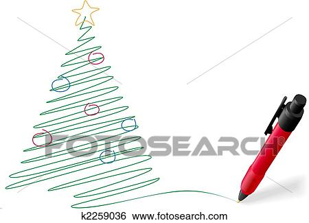 Merry Christmas Writing Clipart.Ink Pen Drawing Writing Merry Christmas Tree Decorations Clip Art