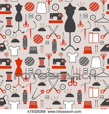 Clip Art - seamless, muster, -, nähen, und, handarbeit ...