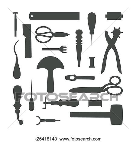 Clipart Of Silhouettes Of Leather Craft Tools Vector Illustration