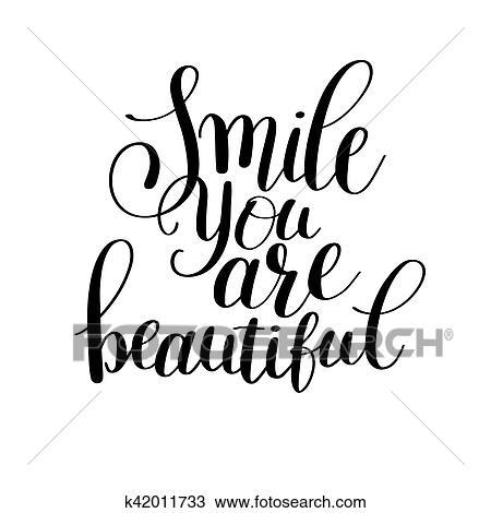 Clipart - sonrisa, usted, ser, hermoso, frase, mano, letras ...