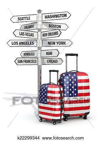 Dessins voyage concept valises et poteau indicateur - Dessin de valise ...