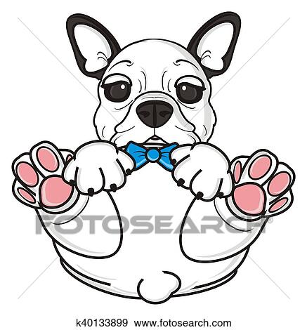 stock illustration of white french bulldog puppy k40133899 search rh fotosearch com clipart french bulldog puppy