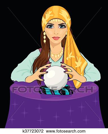 clipart of young fortune teller woman reading future on magical