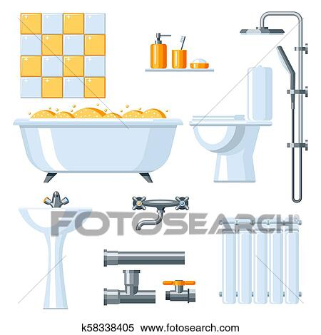 Clipart Of Bathroom Interior Plumbing Icon Set K48 Search Classy Bathroom Clipart Set