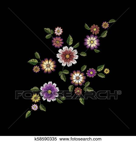 Bordado Verao Flor Moda Patch Realistico Textura Desenho