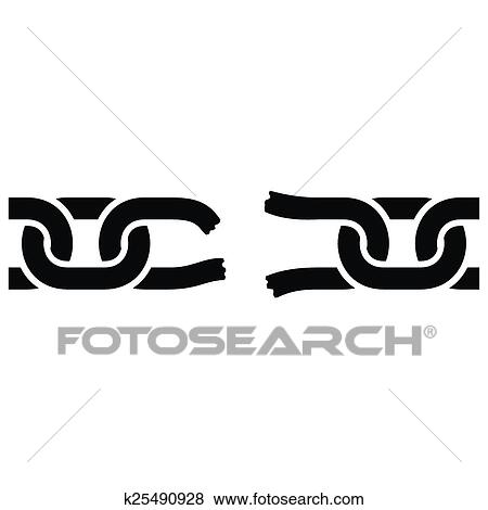 Broken Chain Icon On White Background Vector