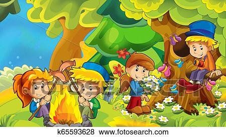Cartoon Autumn Nature Background In The Mountains With Kids Having Fun Camping With Space For Text Illustration For Children Stock Illustration K65593628 Fotosearch