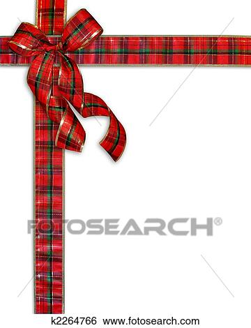 stock illustration christmas present plaid bow background fotosearch search clip art drawings