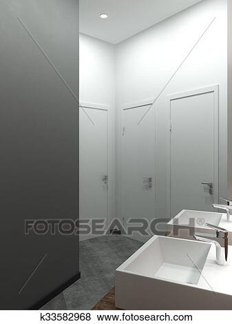 Cuarto de baño, moderno, desván, estilo, 3d, render ...