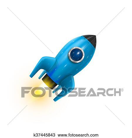 Clipart Fusee Bleu Icone 3d Realiste Objet Fond Blanc