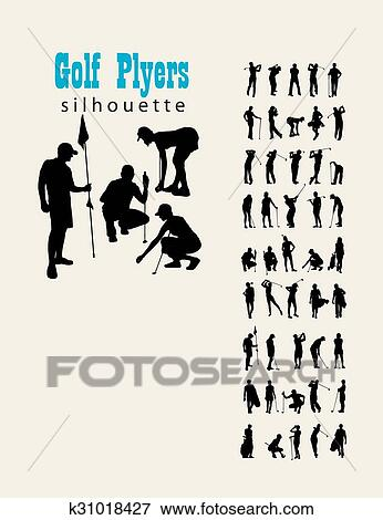 Clip Art Of Golf Silhouettes K31018427 Search Clipart