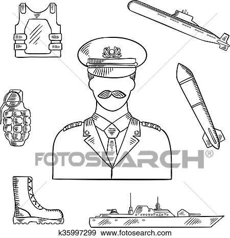 Military man with army symbols sketch icon Clip Art