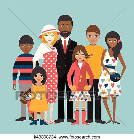 Mixed Race Family With 5 Children Cartoon Ilustration Vector