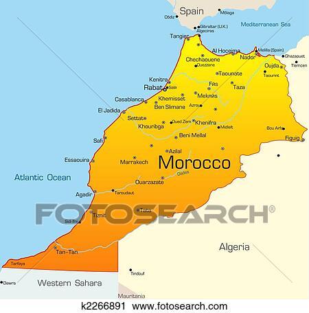 Marocco Cartina.Morocco Country Clipart K2266891 Fotosearch