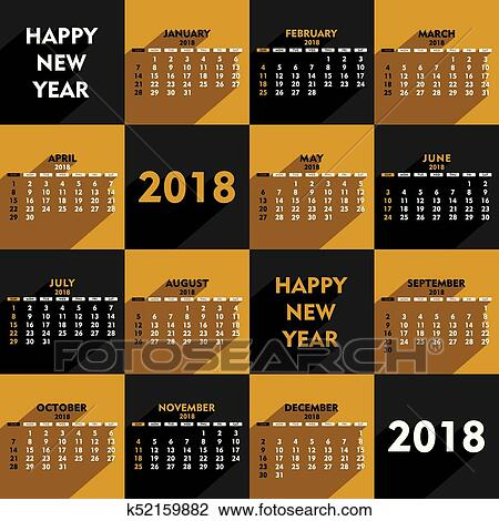 clipart new year 2018 calendar design fotosearch search clip art illustration murals