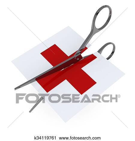 Clipart Of Red Cross Symbol Hospital Cut By Scissor K34119761